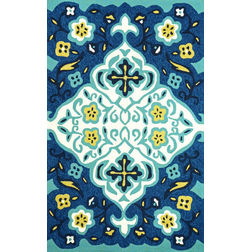 Floor Carpet and Rugs Hand Tufted, The Rug Concept Navy Carpets Online Tbilisi 6044-L, 3ft x 5ft, navy blue
