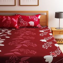 Home Ecstasy 100% Cotton 140TC One Bed sheet With Two Pillow Covers, double,  maroon