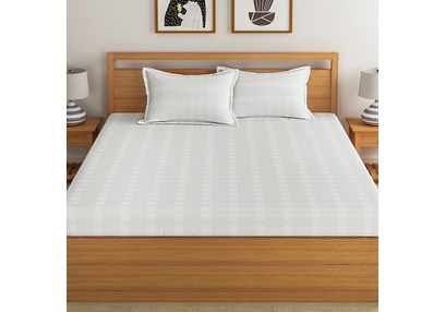 Satin Bed Sheets 300 Thread Count Sheets Satin, 100% Cotton Luxury Bed Sheets Queen & King by Dreamscape, double,  white
