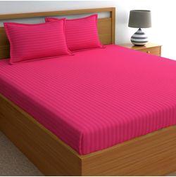 Dreamscape 220TC, Dark Pink Satin Stripe 100% Cotton Double Bedsheets, pink, double