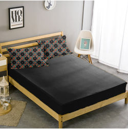 Double Bed Sheet With Two Pillow Covers BS-25, black, double