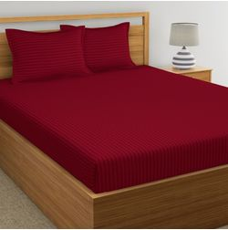 Satin Stripe Bed sheet 220 Thread Count with Two Pillowcovers, 100% Cotton, maroon, double, with 2 pillow cover