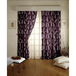 Sonalika Floral Readymade Curtain - 13, door, purple