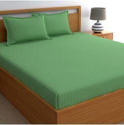Dreamscape 220TC, Green Satin Stripe 100% Cotton Double Bedsheets, gold, double