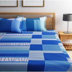 Dreamscape 100% Cotton 144TC One Bed sheet With Two Pillow Covers, double, blue