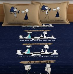 My Room exclusive couple cute bed sheets with quotes & characters, 210TC satin premium bedsheets with 2 pillow covers, queen, (MR09), double, blue