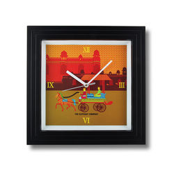 The Elephant Company Gond Art Village Designer Modern Wall Clocks, yellow