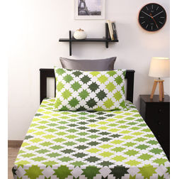 Home Ecstasy 100% Cotton 140TC Single Bed sheet With One Pillow Cover, single, green