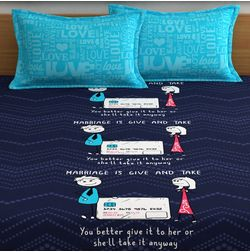 My Room exclusive couple cute bed sheets with funny quotes & characters, 210TC satin premium bedsheets with 2 pillow covers, queen, (MR03), double, blue