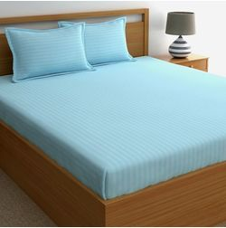 Dreamscape 220TC, Lt. Blue Satin Stripe 100% Cotton Double Bedsheets, blue, double