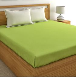 100% Cotton Bedsheets For Double Bed With 2 Pillow Covers, 220TC, Plain Bedsheet, lime green and beige, double