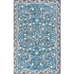 Floor Carpet and Rugs Hand Tufted, The Rug Concept Blue Carpets Online Tbilisi 6051-M, blue, 3ft x 5ft