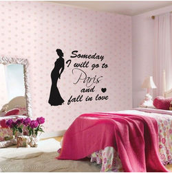 Kakshyaachitra Fall in Love in Paris Wall Stickers For Bedroom And Living Room, 24 21 inches
