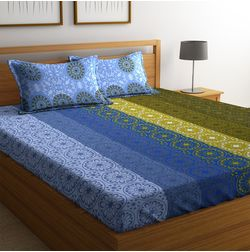 100% Cotton Bedsheets For Double Bed With 2 Pillow Covers, Dreamscape 140 TC Floral Printed Bedsheet, double, blue