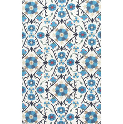 Floor Carpet and Rugs Hand Tufted, The Rug Concept Blue Carpets Online Tbilisi 6032-M, blue, 3ft x 5ft