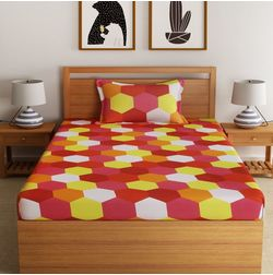 100% Cotton 144TC Geometric Designs Bed Sheet with 1 Pillow Covers, single, red