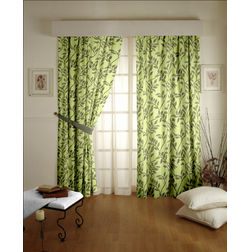 Romania Floral Readymade Curtain - 11, door, green