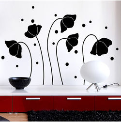 Wall Stickers Home Decor Line Black Flower Silhoutte - 57715