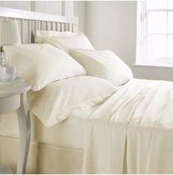 Satin Bed sheet with Two Pillowcovers, 100% Cotton 900 Thread Count, double, cream