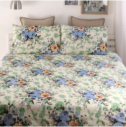 Snuggles 100% Cotton 144TC One Bed sheet With Two Pillow Covers, double, blue