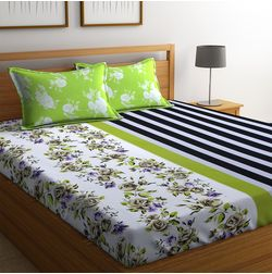 100% Cotton Bedsheets For Double Bed With 2 Pillow Covers, Dreamscape 140 TC Floral Printed Bedsheet, double, green