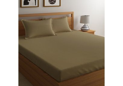 Satin Bed sheet 300 Thread Count with Two Pillowcovers, 100% Cotton, double,  brown