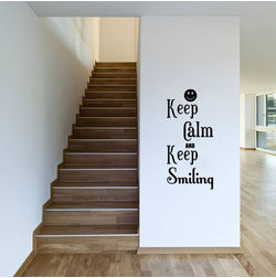 Kakshyaachitra Keep Calm and Keep Smiling Wall Stickers For Bedroom And Living Room, 32 48 inches