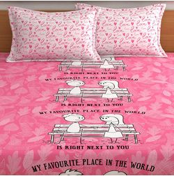My Room exclusive lover heart bed sheets with quotes & characters, 210TC satin premium bedsheets with 2 pillow covers, queen, (MR10), double, pink