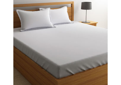 Satin Bed sheet 300 Thread Count with Two Pillowcovers, 100% Cotton King & Double, king,  white