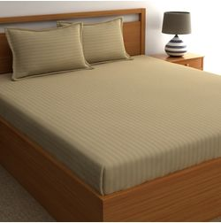Dreamscape 220TC, Khaki Satin Stripe 100% Cotton Double Bedsheets, khaki, double
