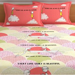 My Room exclusive lover themed romantic bed sheets with quotes & characters, 210TC satin premium bedsheets with 2 pillow covers, queen, (MR07), double, peach