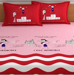 My Room exclusive lover themed romantic bed sheets with quotes & characters, 210TC satin premium bedsheets with 2 pillow covers, queen, (MR08), double, red