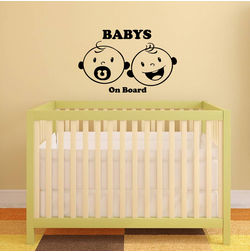 Kakshyaachitra Twin Baby on Board Kids Wall Stickers, 48 31 inches