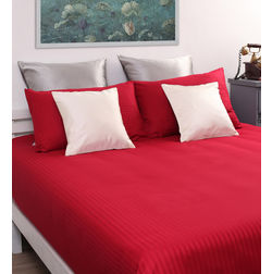 Dreamscape 100% Cotton 220TC One Bed sheet With Two Pillow Covers, maroon, double