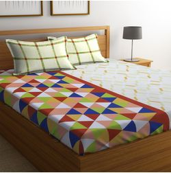 100% Cotton Bedsheets For Double Bed With 2 Pillow Covers, Dreamscape 140 TC Geometric Printed Bedsheet, double, green