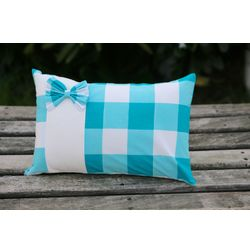 Blue Bow Cushion Cover MYC-20, pack of 1, blue