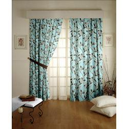 Romania Floral Readymade Curtain - 36, door, blue