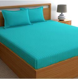 Dreamscape 220TC, Turquoise Blue Satin Stripe 100% Cotton Double Bedsheets, blue, double