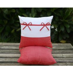 Set of 2 Bow Cushion Cover MYC-23, pack of 2, white