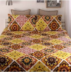 Snuggles 100% Cotton 144TC One Bed sheet With Two Pillow Covers, double, red