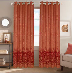 Dreamscape Poly Cotton Geometric, maroon, door