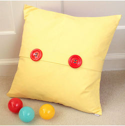 Mr Button Cushion Cover MYC-69, pack of 1, yellow