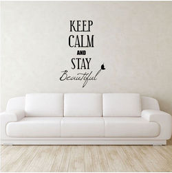 Kakshyaachitra Keep Calm and Stay Beautiful Wall Stickers For Bedroom And Living Room, 24 36 inches