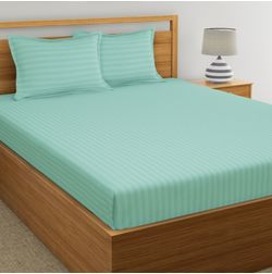 Satin Stripe Bed sheet 220 Thread Count with Two Pillowcovers, 100% Cotton, sea green, double