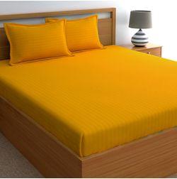 Dreamscape 220TC, Mustard Satin Stripe 100% Cotton Double Bedsheets, mustard, double