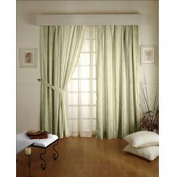 Lusture Stripes Readymade Curtain - 103, door, green