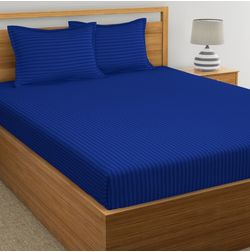 Satin Stripe Bed sheet 220 Thread Count with Two Pillowcovers, 100% Cotton, royal blue, double