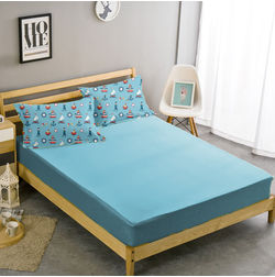 Double Bed Sheet With Two Pillow Covers BS-4, blue, double