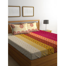 100% Cotton Bedsheets For Double Bed With 2 Pillow Covers, Dreamscape 140 TC Floral Printed Bedsheet, mustard, double