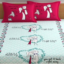 My Room exclusive lover heart bed sheets with quotes & characters, 210TC satin premium bedsheets with 2 pillow covers, queen, (MR05), double, mint